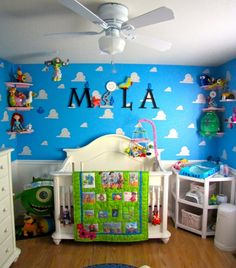 """Pixar Themed Nursery, For our first baby, we wanted to touch on everything Pixar. While the room screams Toy Story, we actually referenced all of the movies and some Pixar shorts., Our babys name referencing the Pixar logo. The font is exactly the same as the logo, and the lamp is replacing the letter """"I"""", just like the logo.  , Nurseries Design"""