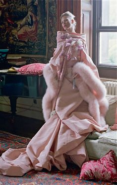 Kate Moss by Tim Walker, Dior couture...opulent yards and yards of fabric.