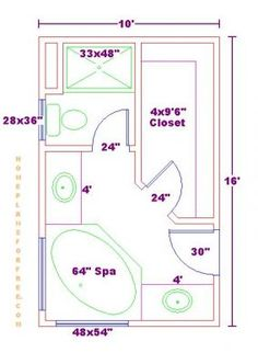 plansfree 10x16 master bathroom floor plan with walk in closet - Master Bathroom Dimensions