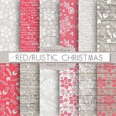 Red/Rustic christmas digital paper. Patterns