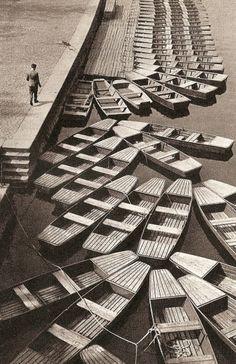 Boats, Vltava, Prague, 1960s by M. Peterka