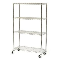 Vancouver Classics Shelving Unit SHE15363Z 4-Shelf Chrome Wire Shelving System with Wheels