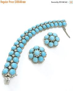 Kramer Bracelet and Earring Demi Parure, Robins Egg Blue Cabochons, and Clear Round Rhinestones, Rhodium Plated, Designer Signed, 1960s