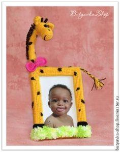 """Вяжем фоторамку """"Солнечный жираф"""" - Ярмарка Мастеров - ручная работа, handmade"""