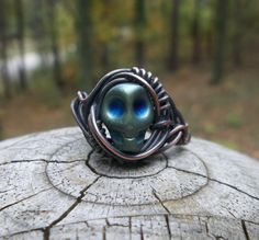UPCYCLED Copper and Skull Wire Wrapped Ring Skull Ring by alexart