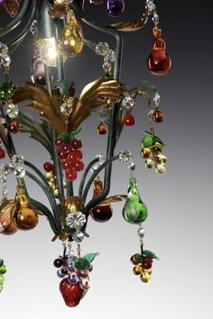 A Murano glass fruit chandelier is a very special purchase. The fruits on the chandeliers are made from solid glass, and even though you know they're made from glass, they still somehow look good enough to eat! Murano Chandelier, Antique Chandelier, Glass Chandelier, Chandelier Lighting, Venetian Glass, Murano Glass, Wood Home Decor, Solar Lights, Boho Decor