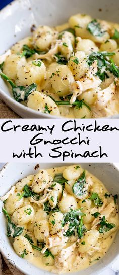 For an easy and quick dinner for the whole family, this Creamy Chicken Gnocchi with Spinach is perfect. Pillowy gnocchi, with shredded chicken (use a rotisserie chicken for super a simple dinner) fres Chicken And Gnocci, Creamy Chicken, Keto Chicken, Chicken Gravy, Chicken Tacos, Chicken Pasta, Roasted Chicken, Fried Chicken, Vegetarian Recipes