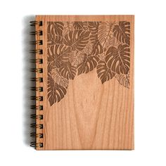 Philodendron Wood Journal | laser cut & engraved with a beautiful tropical botanical pattern