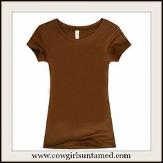 PERFECT FOR LAYERING This Cap Sleeve Round Neck Tee is  a must! Brown or blue.  #tshirt #top #shirt #tee #layering #style #fashion #boutique #clothing #cowgirl #western #capsleeve #fallfashion
