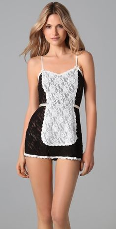 Hanky Panky French Maid Babydoll with G-String - StyleSays Half Top Knot, Classy Yet Trendy, French Maid, Retro Fashion, Womens Fashion, Neutral Outfit, Love Your Hair, Vintage Style Dresses, Retro Dress