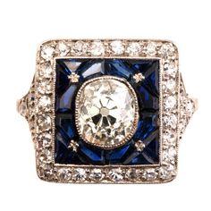 French Sapphire Diamond Ring
