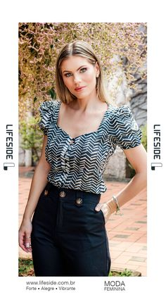 Moda Chic, Blusher, Work Fashion, Blouse Designs, Ruffle Blouse, Feminine, Plus Size, Black And White, Lady