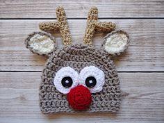 Crochet reindeer Hat Newborn reindeer hat Baby door CudaWiankiAni
