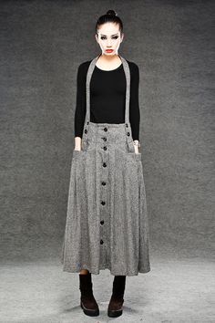 Pleated Wool Suspender Skirt - Black & White Houndstooth Check Print with Funky Braces and Pockets