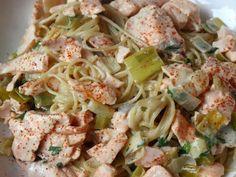 Creamy Salmon and Leek Pasta~Serves 2