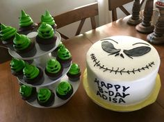 Jack Skellington Nightmare Before Christmas NBC cake with Oogie Boogie cupcakes for a Halloween birthday made by Patsy's Sweet Shoppe in West Allis, WI