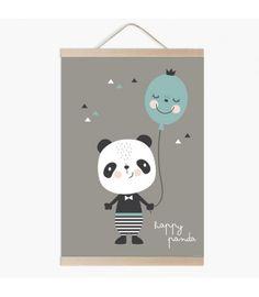 Lámina infantil panda happy