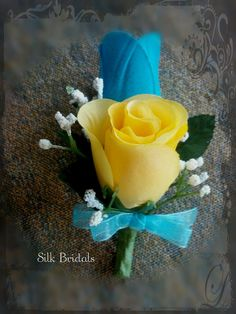 Sunbeam Yellow and MALIBU Blue rosebud Boutonniere by SilkBridals, $4.50