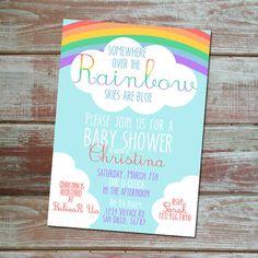 87 best rainbow baby shower images on pinterest baby girl shower somewhere over the rainbow baby shower invitation gender neutral baby shower baby shower boys filmwisefo