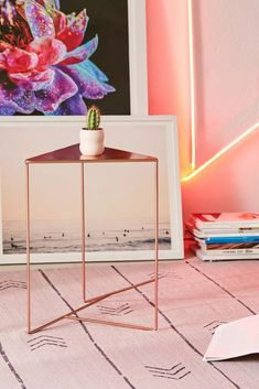 Triangle Side Table | Urban Outfitters Wooden Office Chair, Living Room Decor, Living Spaces, Dorm Furniture, Metal Side Table, Side Tables, Side Chairs, Green Rooms, Hanging Shelves