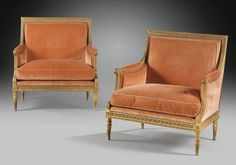 AN IMPORTANT PAIR OF GILTWOOD MARQUISES, ATTRIBUTED TO GEORGES JACOB AND DELIVERED FOR THE COMTE DE VAUDREUIL, LOUIS XVI, CIRCA 1784  Height 38 1/4 in; width 36 1/4 in