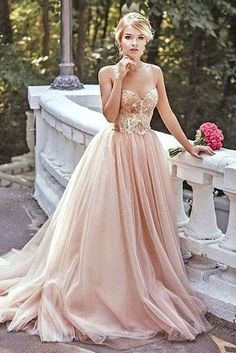 Gold Sequin A line Evening Prom Dresses, Long Tulle Party Prom Dress, – SposaDesses #dresses#style#borntowear