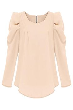 Retro Long Sleeve Cream Chiffon Blouse
