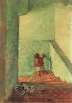 henri lebasque(1865-1937), child on the stairs. oil on canvas, 54.6 x 38.1 cm. private collection  http://www.the-athenaeum.org/art/detail.php?ID=40971; http://www.christies.com/lotfinder/paintings/henri-lebasque-enfant-dans-un-escalier-5037225-details.aspx?from=searchresults=5037225=dadefd46-2f86-44bf-b4ea-ea7f3ede9e1b