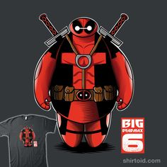 Baymax as Deadpool in this t-shirt by Fernando Sala. DeadMax, adorable and casual mercenary. Deadpool Character, Comic Character, Dead Pool, Deadpool Pictures, Deadpool Art, Black Panther Art, Day Of The Shirt, Black Spiderman, Deadpool Wallpaper