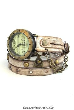 Music Watch, Rusty looking Wrap Watch, Womens leather watch, Bracelet Watch, Distressed Wrist Watch, Chain Watch