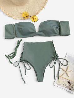 1000baa35 Bardot SheinShein Top With Tie Side High Waist Bikini Biquinis Hot Pants