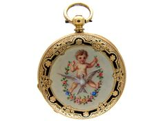 Enamel & Gold  Half  Hunter Watch from the Antique Jewellery Company, £950
