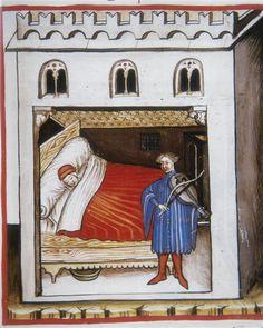 Codex Vindobonensis, series nova 2644 : Le songe   Autriche, Vienne, Österreichischen Nationalbibliothek. 1370-1400 Statues, Medieval, Long Pillow, Historical Art, Grand Palais, 14th Century, Les Oeuvres, Empty, Beds