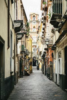 Narrow street in Sorrento, Italy