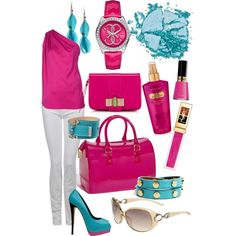 Fun in Pink and Turq, created by jemevangelista on Polyvore