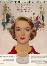 Max Factor creates pancake makeup for the woman who meets over 12 people per day. 1950s Makeup, Vintage Makeup Ads, Retro Makeup, Vintage Beauty, Vintage Ads, Vintage Advertisements, Vintage Designs, Vintage Trends, Vintage Stuff