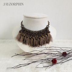 Guinea Feathers Charm Tribal necklace Metal Pin by JAYZORPHIN