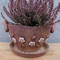 """Květináč s uchy -,, Romantic rose pink"""" / ihned / Zboží prodejce keramika Ála"""