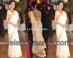 kerala  sari | Asin in Kerala Traditional Saree | Saree Blouse Patterns