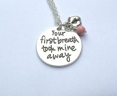 Stamped Charm - Your First Breath Took Mine Away -Tiny Baby Feet Charm - Newborn Keepsake - Announcement Gift - Mommy Gift - Canadian Shop