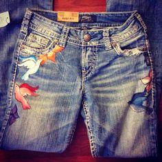 Paint Nite, @silverjeanco @peoplestylewatch #sjcstylehunter #diy Painted jeans #paintnite