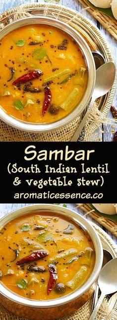 Sambhar | Sambar (South Indian lentil & vegetable stew) #sambar #sambhar #southindianfood #stews @aromaticessence