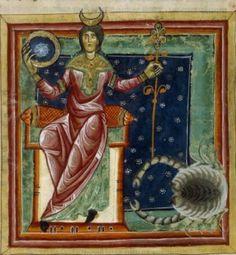 """La Luna in domicilio nel Segno del Cancro. Miniatura dal """"Liber Astrologiae"""" di Georgius Zothorus Zaparus Fendulus, XIII sec."""