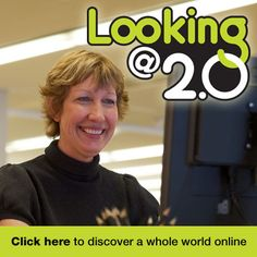 Looking @ 2.0 Logo and a woman conducting the course