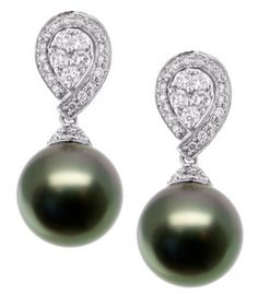 Black Tahitian Pearls Diamond Earrings See The Rest Of Outfit And Description