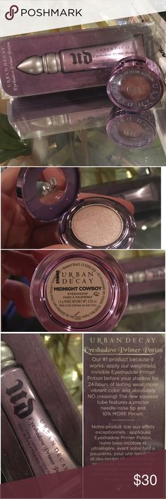 """BNIB Urban Decay Eye Primer & Shadow Brand New Urban Decay set: (1) Eyeshadow primer potion """"original"""", (1) Midnight Cowboy eyeshadow (a beautiful cream/champagne) Both never used. I do not have the box for the eyeshadow, but it's in pristine condition. Urban Decay Makeup Eyeshadow"""
