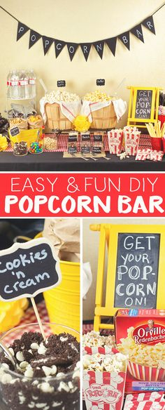 """DIY Popcorn Bars are """"popping"""" up at all types of parties and get together's! Here are a few tips for Creating the Best DIY Popcorn Bar at your next gathering."""