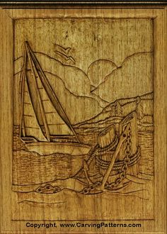 wood carving patterns | Sailboat Relief Wood Carving Project for Beginners by L. S. Irish