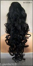 Black Jaw Claw Clip Ponytail clip on hair piece extension pony tail fall 1151 1