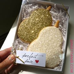 "Golden ""Perfect Pair"" Cookie Favors by Sweet Dani B"